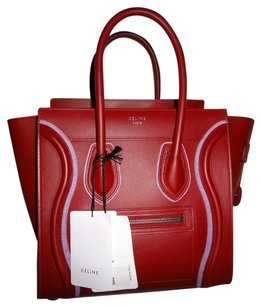 Céline Italian Leather Tote in Red