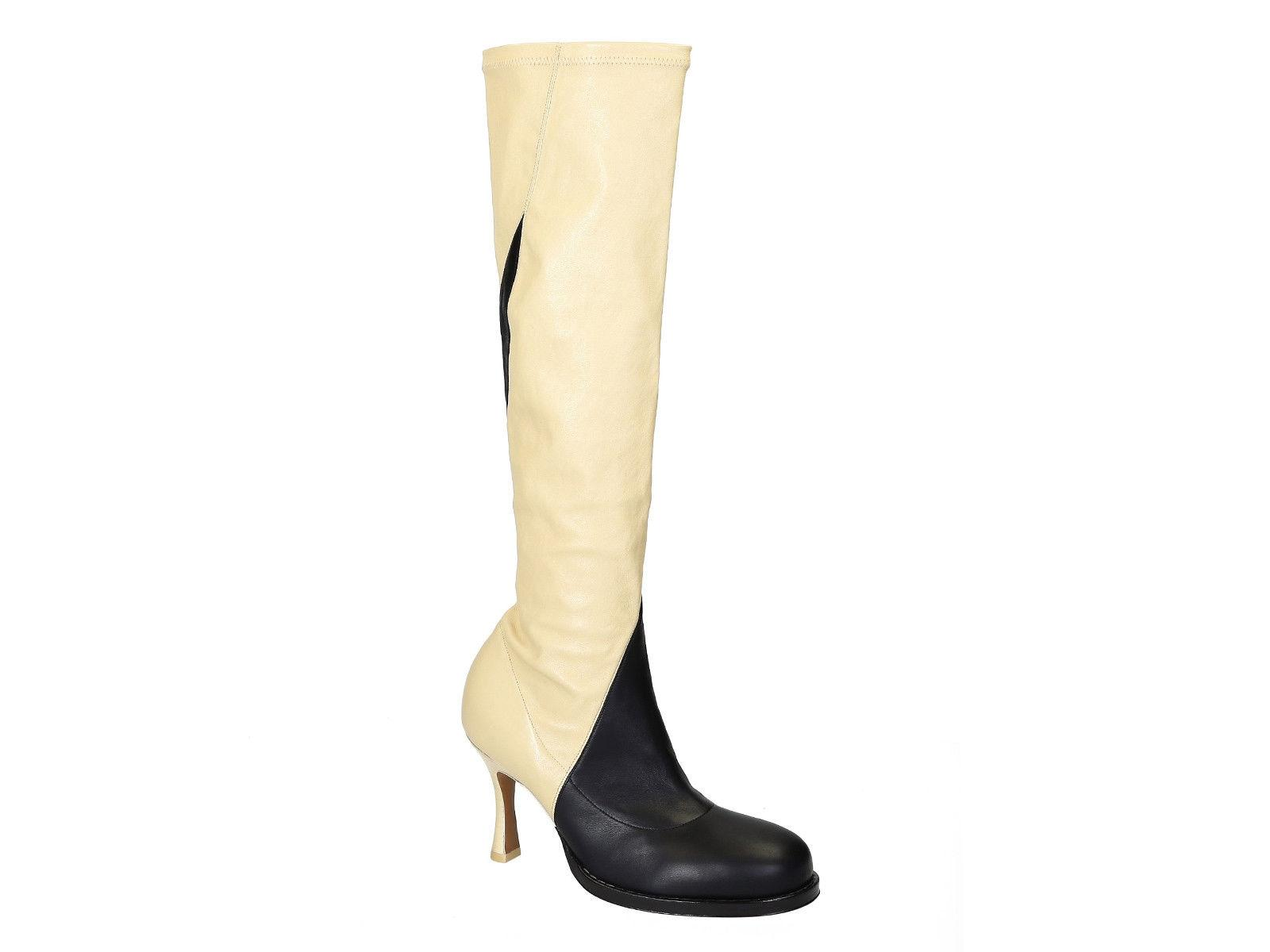7c1741988b48 Céline Knee High Black Off White Soft Leather Boots Booties Size US US US 8  Regular (M