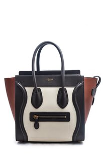 Cline Leather Gold Hardware Tote in Black, White, and Mahogany