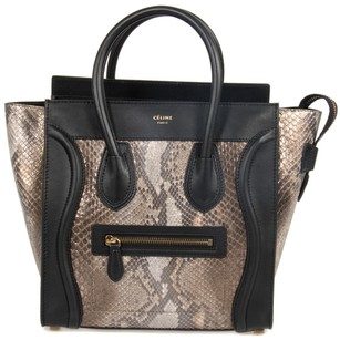 Céline Micro Python Black Tote in Natural