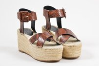Céline Celine Snakeskin Brown Sandals