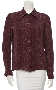 Céline Silk Snakeskin Print Edgy Button Down Shirt Purple
