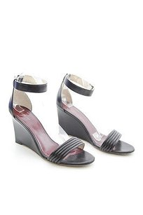 Céline Leather Ankle Strap Open Toe Covered Sleek High Wedge Sandal 4010 Black Pumps