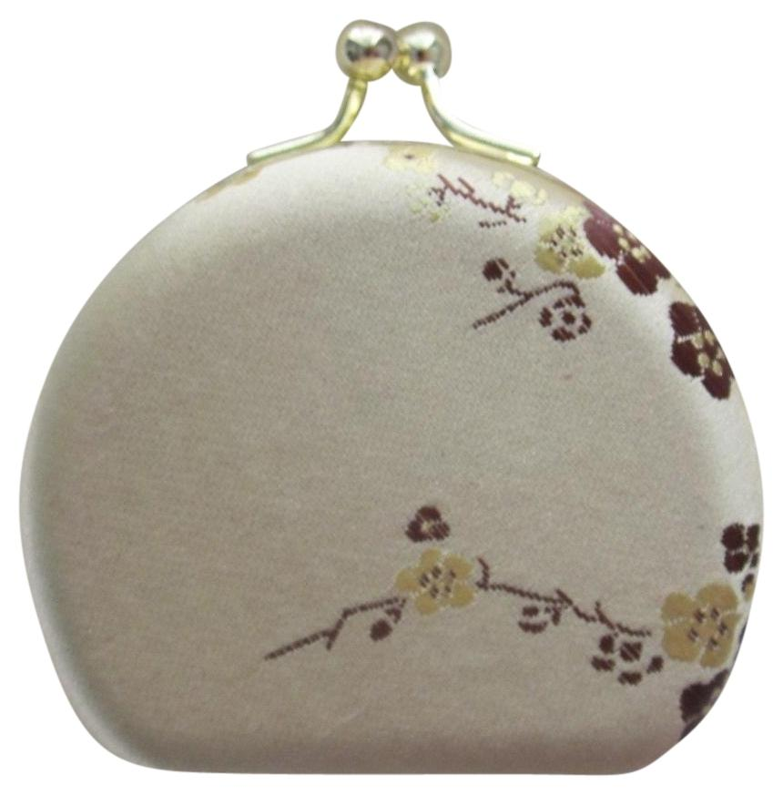 Champagne Plum Blossom Silk Embroidered Jewelry Box Coin Purse Gold