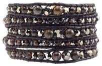 Chan Luu Bronzite Mix Graduated Wrap Bracelet on Natural Dark Brown Leather Chan Luu Bronzite Mix Graduated Wrap Bracelet on Natural Dark Brown Leather