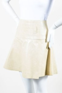 Chanel 02a Leather Skirt Cream