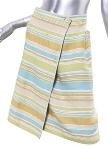 Chanel Woven Pastel Striped Woolcotton Wrap 426 Skirt Multi-Color