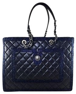 Chanel Black Quilted Calfskin Tote in Black/ Blue