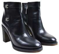 Chanel Leather Silver Black Boots