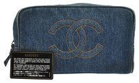 Chanel Auth CHANEL CC Logos Cosmetic Hand Bag Blue Gold Denim Vintage Italy LP12040