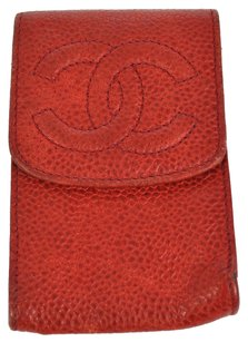 Chanel Auth CHANEL CC Mini Cigarette Case Red Caviar Skin Leather Vintage AK03250