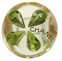 Chanel Auth CHANEL Logos Ring Rhineston Plastic Size 7 1/2 Accessories Vintage 08A230