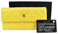 Chanel AUTH CHANEL QUILTED CC LOGOS LONG WALLET PURSE YELLOW LEATHER VINTAGE RK07051