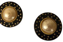 Chanel Auth CHANEL Round Clip-On Earrings Goldtone/Faux Pearl MADE IN FRANCE . Normal Wear Condition .