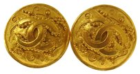 Chanel Auth CHANEL Vintage CC Logos Button Earrings Gold-Tone Clip-On France LP14849