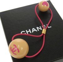 Chanel AUTH CHANEL VINTAGE CC LOGOS HEART MOTIF HAIR ELASTIC PONYTAIL HOLDER B25002