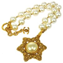 Chanel Auth CHANEL Vintage CC Logos Imitation Pearl Pendant Necklace France LP11436