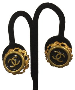 Chanel Authentic Chanel buttons re-purposed on vintage gold tone pierced earrings