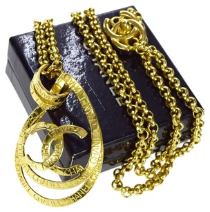 Chanel Authentic CHANEL CC Logos Chain Pendant Necklace Gold-Tone 95P Vintage 84C649