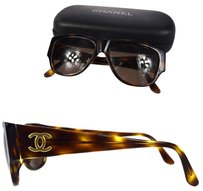 Chanel Authentic CHANEL CC Logos Sunglasses Eye Wear Brown Plastic Italy Vintage 07T452