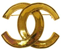 Chanel Authentic CHANEL Vintage CC Logos Brooch Gold-Tone France Accessories LP12528