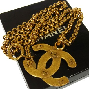 Chanel Authentic CHANEL Vintage CC Logos Gold Chain Pendant Necklace France AK02494
