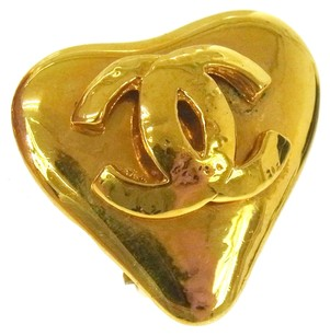 Chanel Authentic CHANEL Vintage CC Logos Heart Motif Earrings Clip-On France M09387