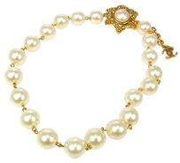 Chanel Authentic CHANEL Vintage CC Logos Imitation Pearl White Necklace France LP09130