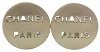 Chanel AUTHENTIC CHANEL VINTAGE CC LOGOS SILVER BUTTON EARRINGS CLIP-ON FRANCE AK02159