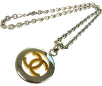 Chanel Authentic CHANEL Vintage CC Logos Silver Pendant Necklace 97A A09659