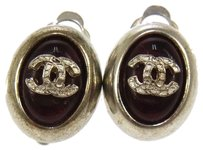 Chanel Authentic CHANEL Vintage CC Logos Stones Earrings Clip-On 00A France LP11942