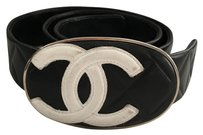 Chanel Authentic RARE Classic ICONIC Black White Cambon Quilted Leather Oval Buckle Belt