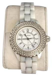 Chanel Authentic Chanel White Ceramic J12 33mm Double Row Diamond bezel watch