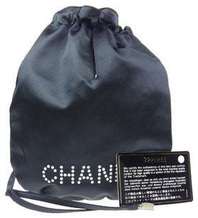 Chanel Authnetic CHANEL CC Logos Drawstring Pouch Bag Navy Satin Vintage Italy LP05442