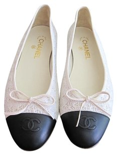Chanel Ballerina Lace Leather Cremy White Flats