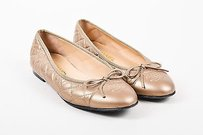 Chanel Metallic Quilted Taupe Flats