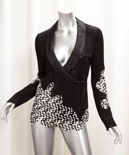 Chanel Womens Knit Checkers Checks Classic Coat 386 Black Jacket