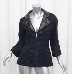 Chanel Womens Wool Tweedleather Coat 386 Black Jacket