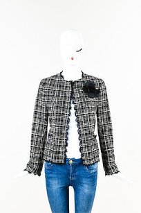 Chanel Tweed Open Front Black, White, Cream, Silver Jacket