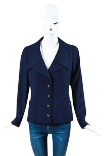 Chanel Boutique Navy Gold Blue Jacket
