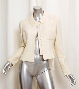 Chanel Fall 1996 White Wool Belted Waist Short Hook And Eye Closure Ivory Jacket