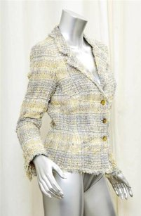 Chanel 05p Womens Classic Grayyellow Tweed Wool Blend Blazer Coat 638m Jacket