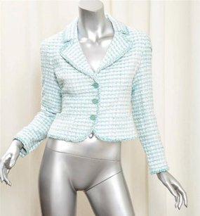 Chanel Womens Turquoise Bluewhite Cotton Tweed Blazer Multi-Color Jacket