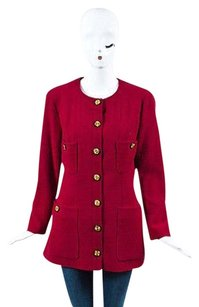 Chanel Vintage Boutique Berry Black Gold Tone Wool Cc Button Red Jacket