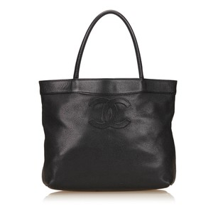 Chanel Black Caviar Leather Leather 6jchto008 Tote