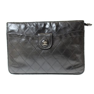 Chanel Black Quilted Lambskin blk Clutch