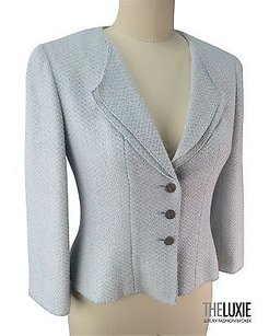 Chanel Silver Cc Buttons Gr8 W Dk Skinny Jeans soft pale blue Jacket