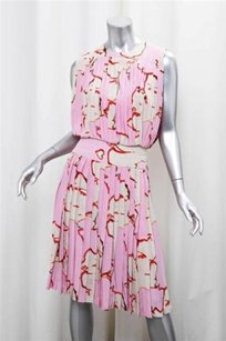 Chanel Silk Abstract Face Print Pleated Blouson 428 Dress