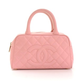 Chanel Boston Leather Hand Tote in Pink