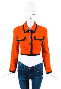 Chanel Button Cropped Orange Jacket